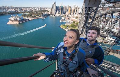 Bridge Climb (BridgeClimb) couple, with Opera House views