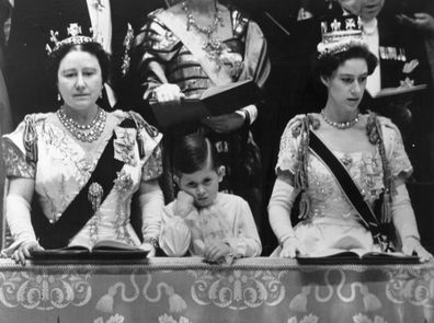 Queen Elizabeth, the Queen Mother, Prince Charles and Princess Margaret in the royal box at Westminster Abbey watching the Coronation ceremony of Queen Elizabeth II.