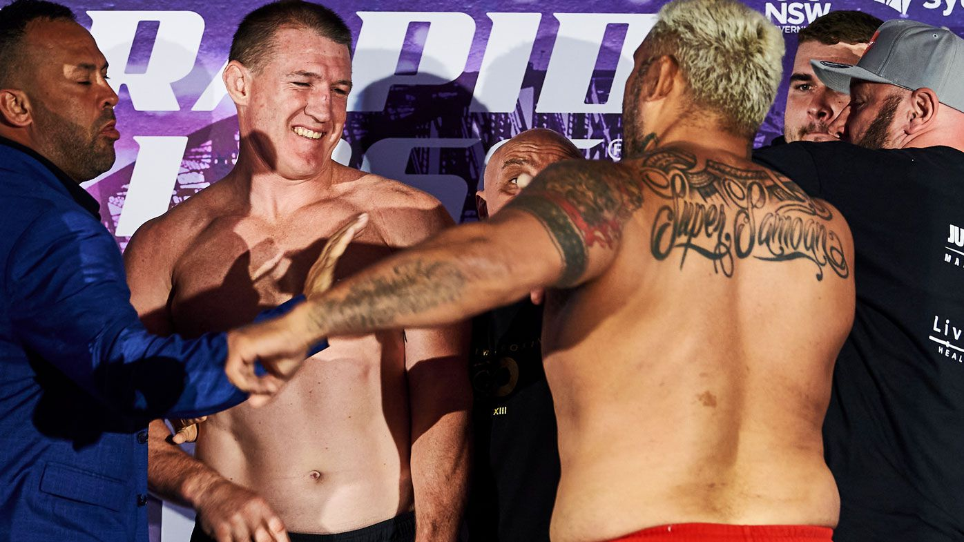 Final press-conference cancelled after Mark Hunt tries to punch Paul Gallen at weigh-in