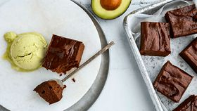 Avo brownie with avocado ice-cream