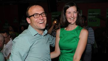Australian Greens deputy leader Adam Bandt and Victorian Greens candidate for the seat of Melbourne Ellen Sandell. (AAP)