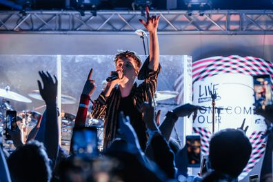 Singer, Troye Sivan, performs, on stage, Perth, Aloft Hotel