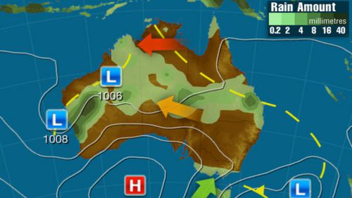 Monday: A broad region of low pressure which spans from WA to southeast QLD could produce widespread showers and storms, potentially heavy over WA. Cool winds in the wake of a front will bring showers to VIC and TAS.(Weatherzone)