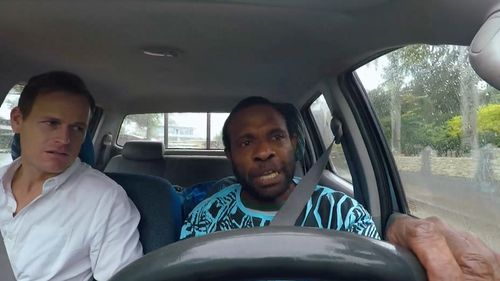 A taxi driver in Vanuatu's capital Port Vila, William Taback voices his concern over the superfluous Chinese construction projects. Picture: 60 Minutes
