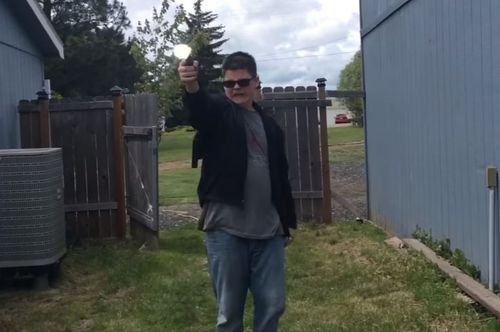 One of the YouTube videos of Caleb Sharpe shooting fake guns. (YouTube)