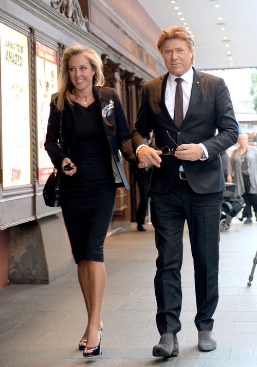 Richard Wilkins (right) and Virginia Burmeister arrive for the memorial. Picture: AAP