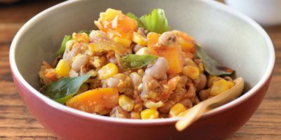 Bean & corn stew with paprika oil