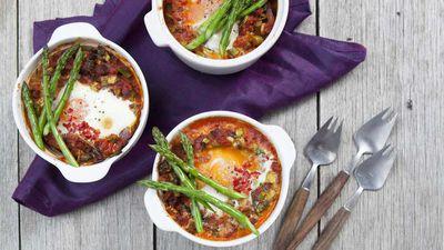 "Recipe: <a href=""http://kitchen.nine.com.au/2017/10/13/11/04/asparagus-with-spanish-eggs-and-chorizo"" target=""_top"">Spanish eggs and asparagus</a>"