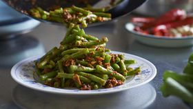 Malaysian sambal green bean stir fry