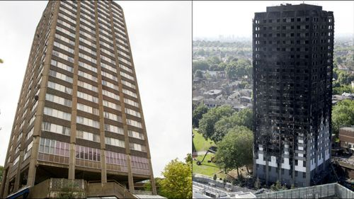 Grenfell Tower before and after the blaze.