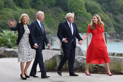 The Bidens and the Johnsons during G7 press call in the UK.