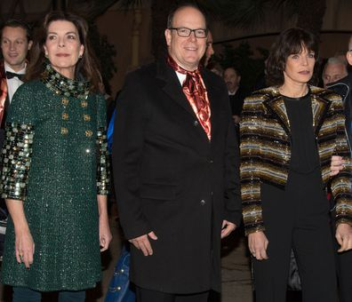 Princess Caroline of Hanover, Prince Albert II of Monaco Princess Stephanie of Monaco, Rolf Knie attend the 40th international circus festival on January 19, 2016 in Monaco, Monaco
