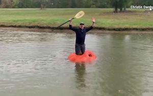 US farmer carves 412 kg pumpkin into circular kayak