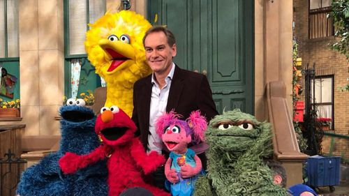 Liam Bartlett with the long-time favourties from Sesame Street.