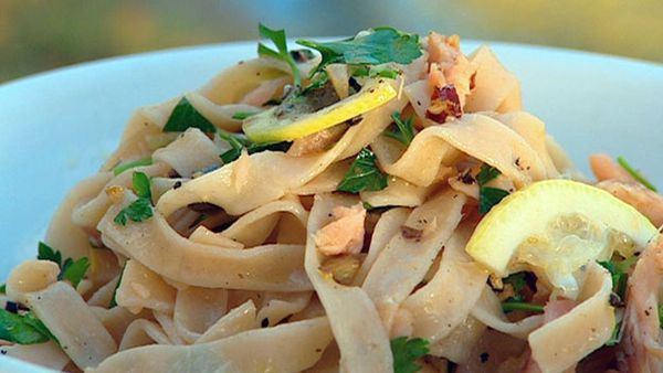 Fettuccini with smoked trout lemon and capers