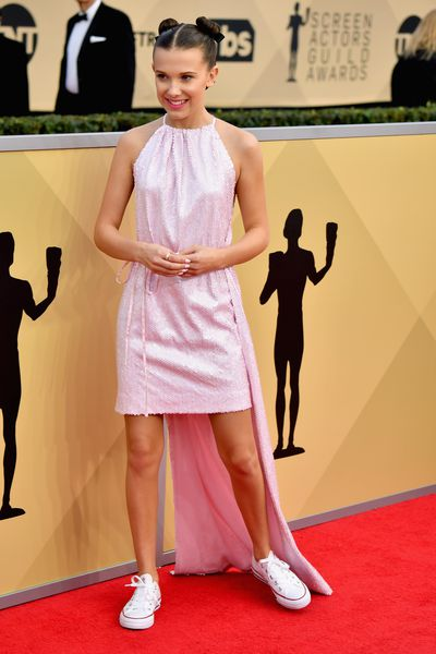 Milly Bobby Brown in Calvin Klein by Appointment at the 2018 SAG Awards