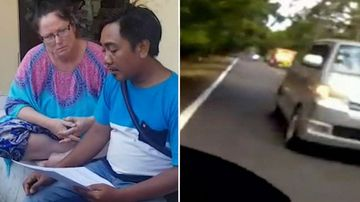 Dashcam footage shows the moments before a deadly Bali crash that killed a scooter rider.