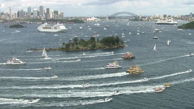 Boats gathered on Sydney's harbour for the Australia Day Ferrython Cruise.