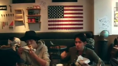 J.S Burger Cafe in Tokyo has taken on a distinctly American flavour ahead of the Presidential Election. (TODAY)