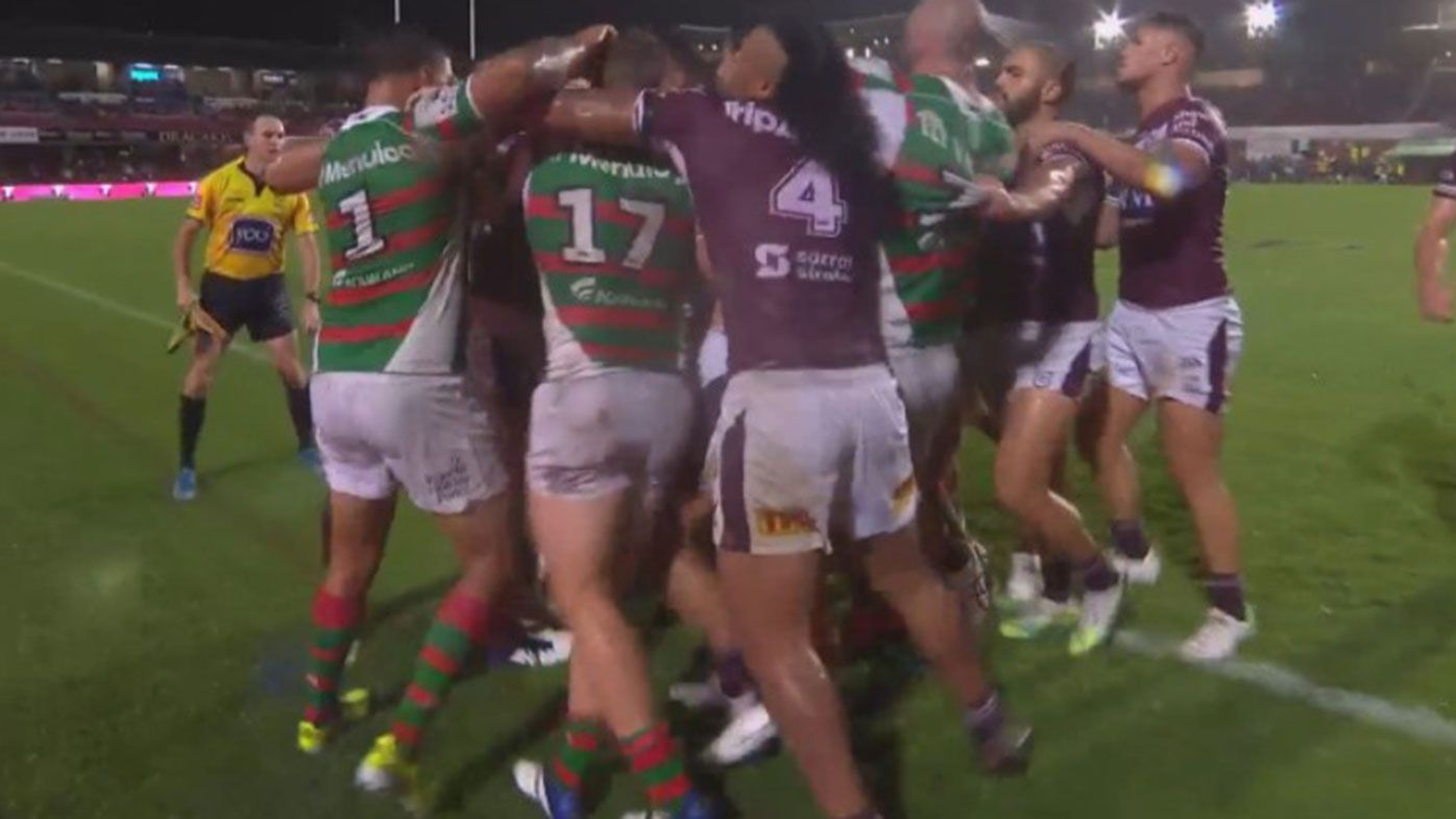 Manly and Souths players push and shove in the final minute of their match at Brookvale Oval.