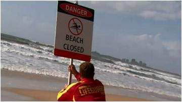 Gold Coast beaches are closed as strong winds whip up dangerous surf.