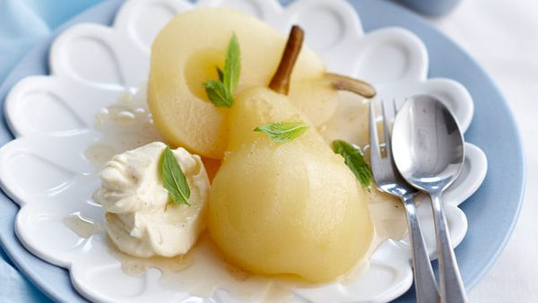 Ginger poached pears with ginger cream