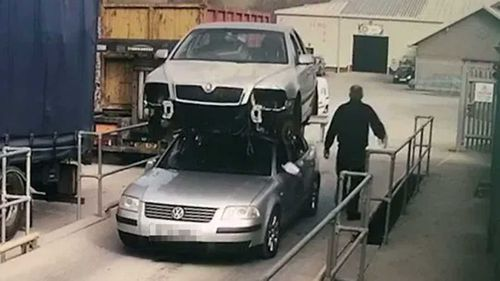 Glyndwr Wyn Richards strapped a Skoda to the roof of his Volkswagen.