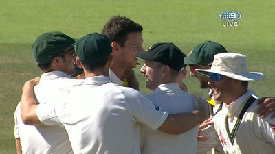 Hazlewood celebrates Root wicket