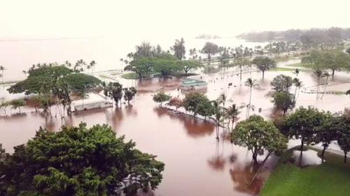 Flooded fields in downtown Hilo.