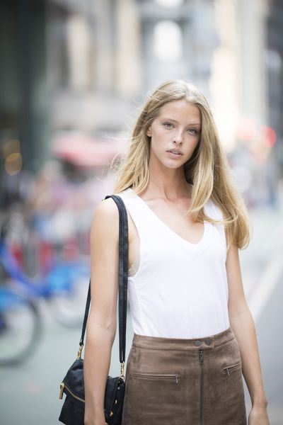 Abby Champion at the Victoria's Secret Casting Call in New York on August 21.