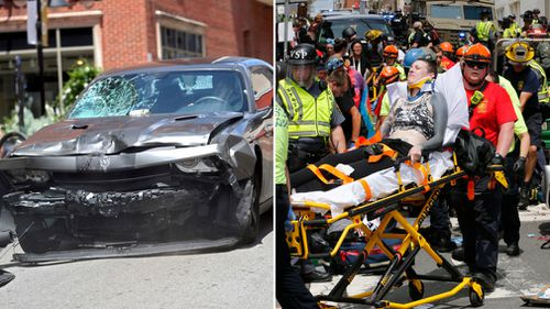 The car ploughed into pedestrians at the Virginia rally. (AAP)