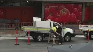 A quick-thinking tradie has dragged a 30-year-old man from the drivers seat of his ute after he attempted to drive off.