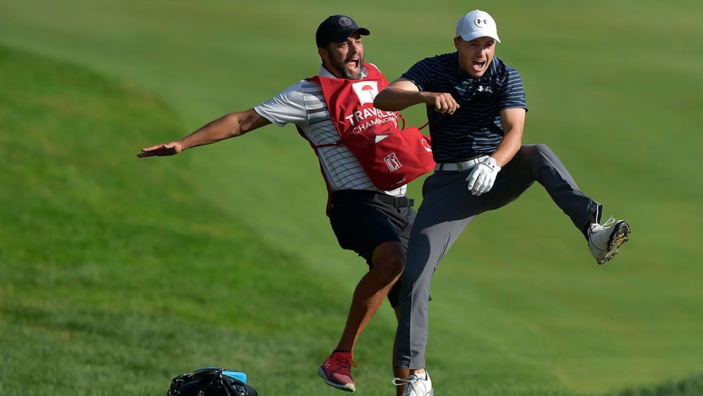 Bunker hole-out brings Jordan Spieth his 10th PGA Tour title at Travelers Championship