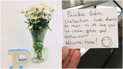 Owner Andrew and fiance Joyce have received a multiple messages of support following the offensive note.