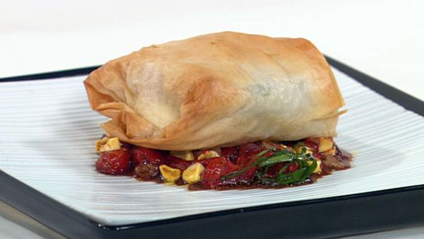 Filo and haloumi parcels with red capsicum and corn salsa