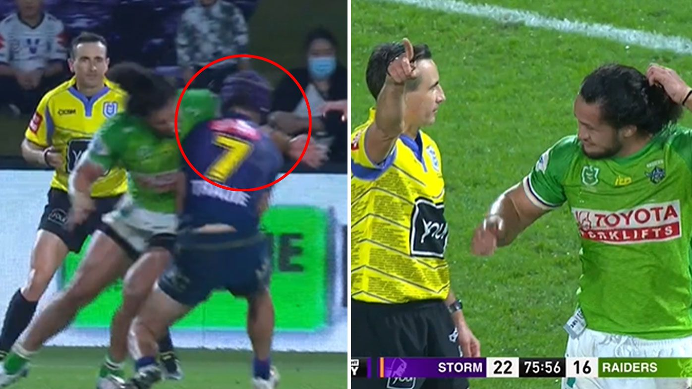 Corey Harawira-Naera sent off for shoulder charge on Jahrome Hughes