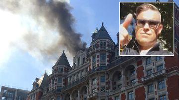 Robbie Williams flees burning luxury London hotel