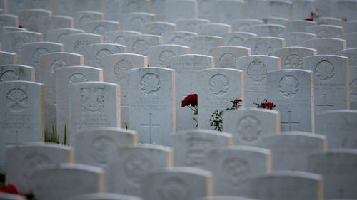 Rows of headstones marking the graves at Tyne Cot Commonwealth War Graves Commission Cemetery in Passchendaele, Belgium. (Getty)