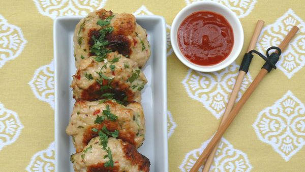 Thai chicken and coconut cakes with sriracha