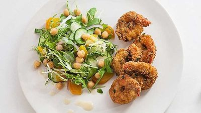 "<p>Recipe: <a href=""http://kitchen.nine.com.au/2016/05/05/14/26/zigis-falafelcoated-prawns"" target=""_top"">Zigi's falafel coated prawns</a></p>"