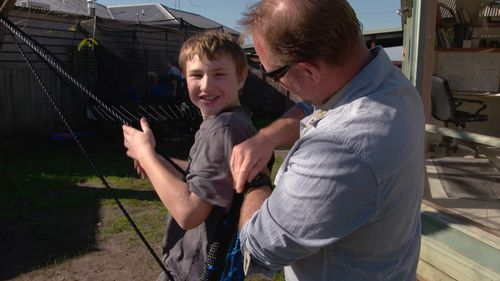Sean Whelan with his son Max, who lives with severe autism. Picture: 60 Minutes
