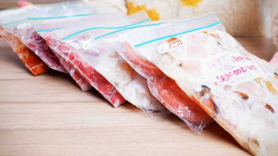 Avoid cross-contamination drips by defrosting meat on the bottom fridge shelf