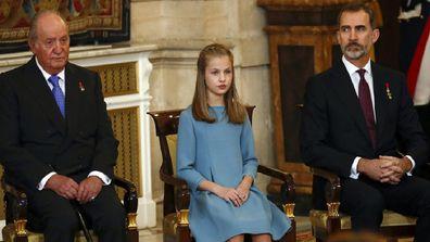 Spain's former King Juan Carlos, left, Princess Leonor and King Felipe in 2018.