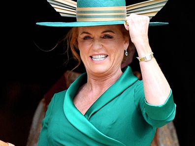 WINDSOR, UNITED KINGDOM - OCTOBER 12: (EMBARGOED FOR PUBLICATION IN UK NEWSPAPERS UNTIL 24 HOURS AFTER CREATE DATE AND TIME) Sarah Ferguson, Duchess of York attends the wedding of Princess Eugenie of York and Jack Brooksbank at St George's Chapel on October 12, 2018 in Windsor, England. (Photo by Pool/Max Mumby/Getty Images)