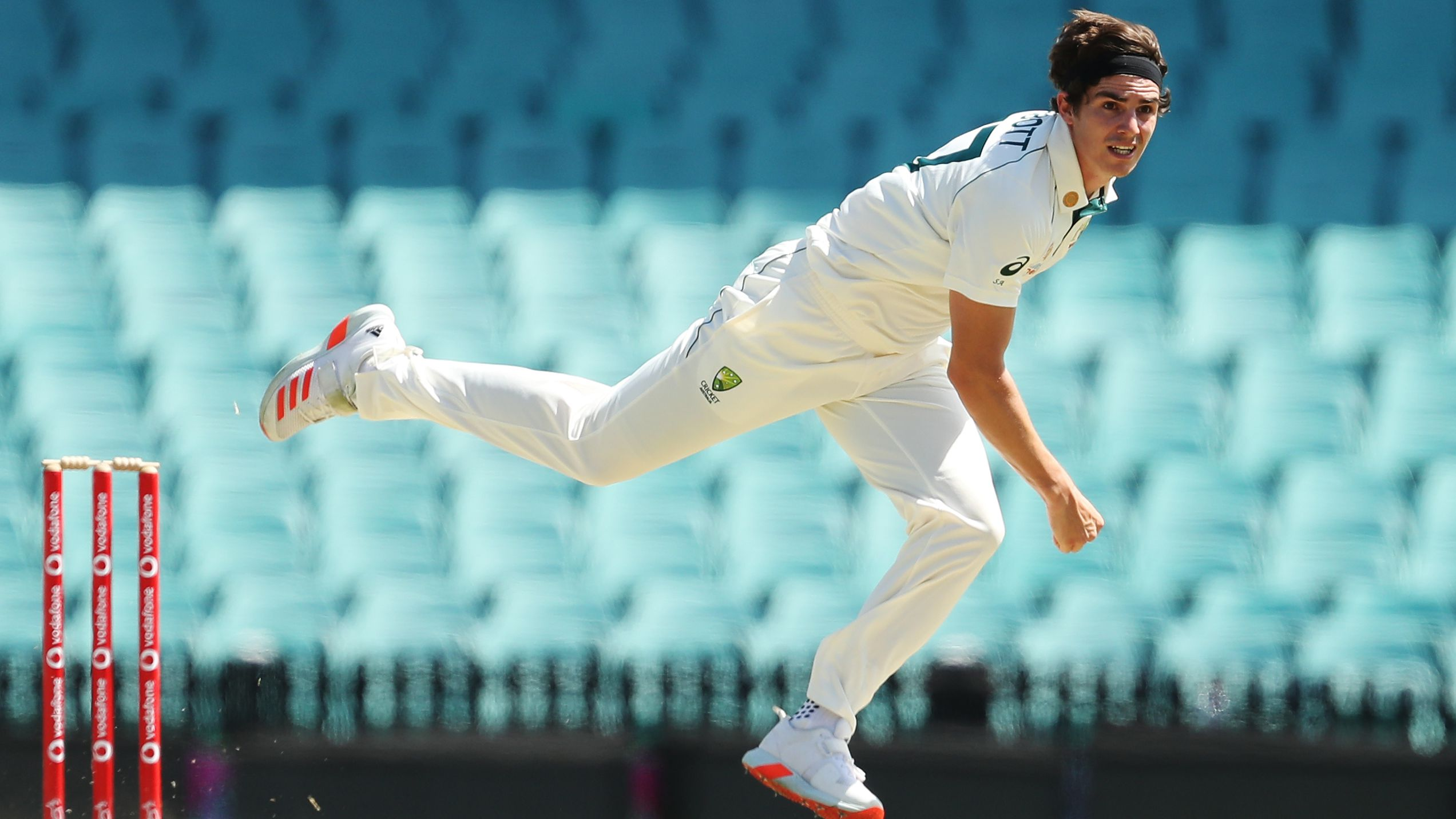 Sean Abbott of Australia A bowls during day two.