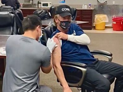 Sean Penn receives his COVID-19 vaccine