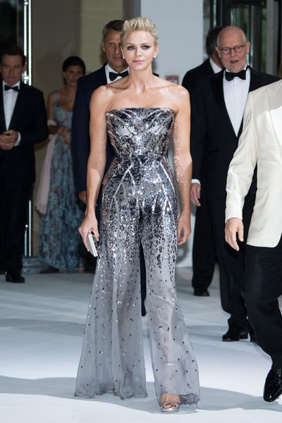 Princess Charlene wearing a custom Armani Privé jumpsuit at the 69th Monaco Red Cross Ball Gala in Monte-Carlo in July, 2017