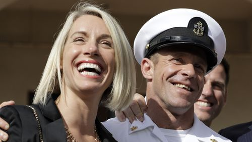 Navy SEAL Edward Gallagher celebrates his acquittal with wife Andrea.