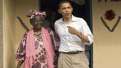 Barack Obama with his step-mother Sarah