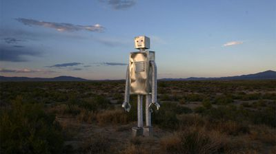 An artwork called the Guardians of Zaqistan are a series of robot sculptures.